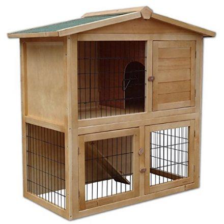 dibea rh10011 kleintierstall holz 98 x 54 x 100 cm geraeumiger 2 etagen kaefig 3 tueren fuer kaninchen hamster hasen meerschweinchen 440x440 - Kaninchenstall - kuschelige Behausung für kuschelige Tiere