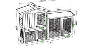 51F+LF3zXtL 310x165 - dibea RH10240 Premium Kleintier Stall (147 x 52 x 85 cm), geräumige 2-Etagen Holzhütte, Gehege mit 3 Türen für Kaninchen Hasen Meerschweinchen