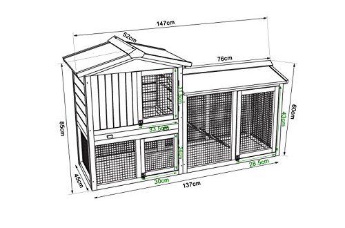 51F+LF3zXtL 500x330 - dibea RH10240 Premium Kleintier Stall (147 x 52 x 85 cm), geräumige 2-Etagen Holzhütte, Gehege mit 3 Türen für Kaninchen Hasen Meerschweinchen