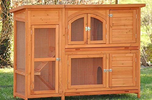 nanook Kaninchenstall, Hasenstall Jumbo XL mit seitlichen Aufgängen für mehr Platz - Wetterfest extragroß 138 x 48 x 109 cm Natur braun